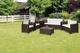 XL Outdoor Brown Rattan Sofa Set Contemporary Garden Sofa Chair Table Pa... - $681.67