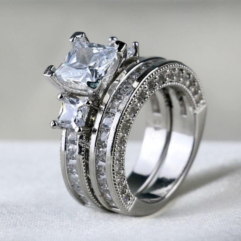 S rings women white crystal rhinestones rings set wedding ring men zirconia stainless steel ring