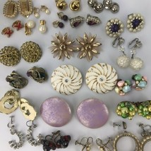 Vintage Earring Lot Clip On Ans Screw Back 20 Pairs A Few Missing Stones - $39.60