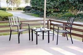 EMERIT 3 Piece Outdoor Bistro Sets Metal Patio Furniture, Black - $203.55