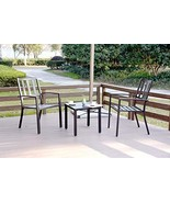 EMERIT 3 Piece Outdoor Bistro Sets Metal Patio Furniture, Black - $203.55