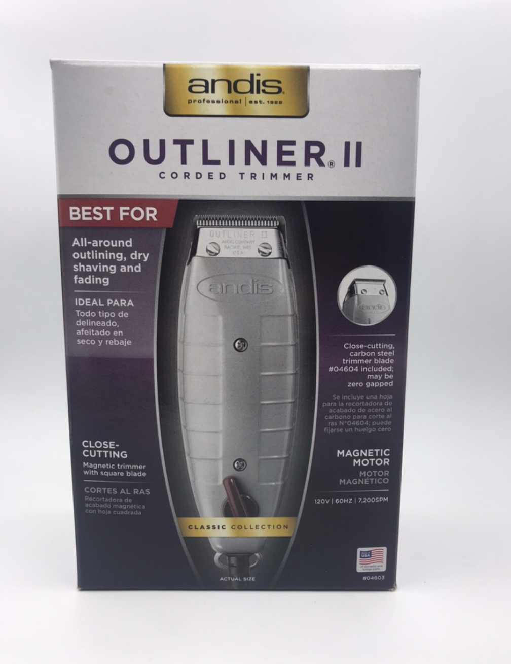 Primary image for ANDIS OUTLINER II CORDED TRIMMER #04603 MADE IN USA BEST FOR DRY SHAVING, FADING