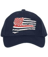 Thin Red Line Firefighter Wavy Flag Adjustable or Flex Fit Ball Cap Hat - $19.79 - $23.75