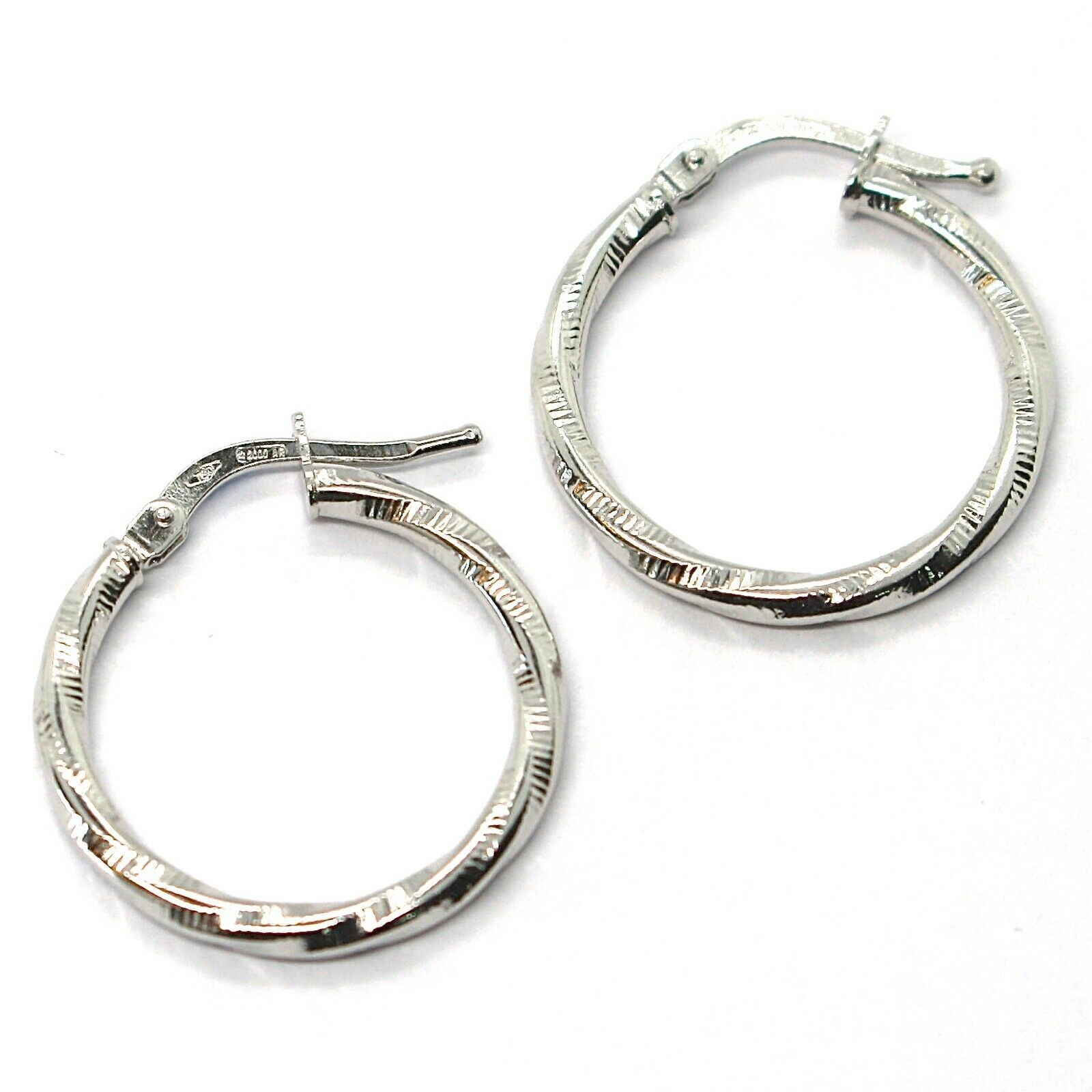 18K WHITE GOLD CIRCLE HOOPS TWISTED STRIPED EARRINGS 20 MM, 2 MM THICK, ITALY