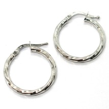 18K WHITE GOLD CIRCLE HOOPS TWISTED STRIPED EARRINGS 20 MM, 2 MM THICK, ITALY image 1