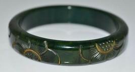 VTG Green Yellow End of Days BAKELITE TESTED Carved Flower Bangle Bracelet - $99.00