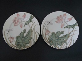 "Lot / 2 Fitz and Floyd Lotus Garden Salad Plates 7 1/2"" Japan Excellent - $9.99"