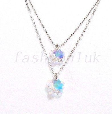 Mujer Niña Bañado En Oro Blanco Doble Elemento Swarovski Cristales
