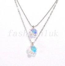 Mujer Niña Bañado En Oro Blanco Doble Elemento Swarovski Cristales - $19.62