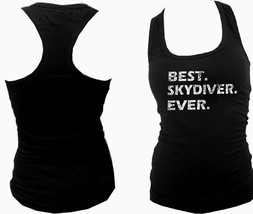 Best skydiver ever distressed look women racerback fit the body black tank top - $13.99