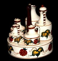 Ceramic Oil, Vinegar, Mustard, Salt, and Pepper on a Caddie AA19-1640 Vintage image 5