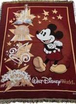 Mickey Mouse Disney Tapestry Woven Throw Blanket Walt Disney World Magic... - $17.81