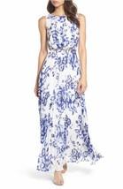 Eliza J Floral Pleat Chiffon Maxi Dress Sz 10 - $1.454,31 MXN