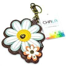 Chala Handbags Faux Leather Daisy Flowers Coin Purse Key Chain Keychain