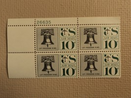 USPS Scott C57 10c Let Freedom Ring Liberty Bell 1960 Mint NH Plate Block - $13.21