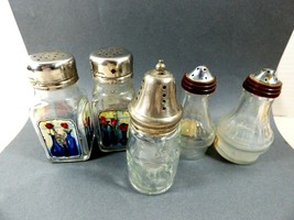 Lot of 5 VTG clear glass salt & pepper shakers silver plate & nickel top... - $24.75