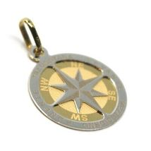 "18K YELLOW WHITE GOLD COMPASS WIND ROSE PENDANT, DIAMETER 1.8 CM, 0.7"", 2 FACES  image 4"