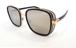 JIMMY CHOO Women's Sunglasses ELVA/S 2M2 Black/Gold Rectangular 130 ITAL... - $235.00