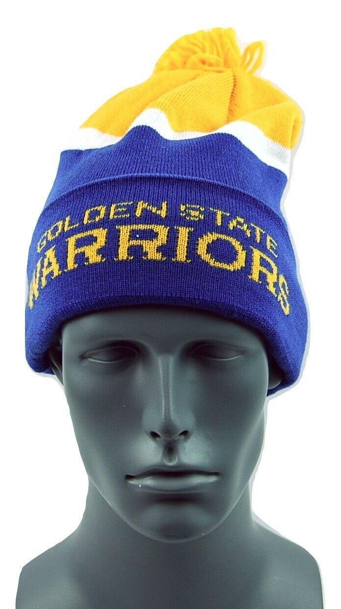 Golden State Warriors adidas NBA Basketball Team Pom Pom Knit Hat Beanie Toque