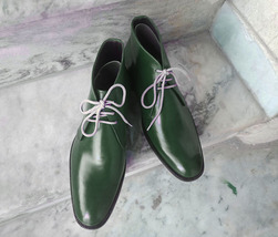 Handmade Men's Green Leather High Ankle Lace Up Boots image 4