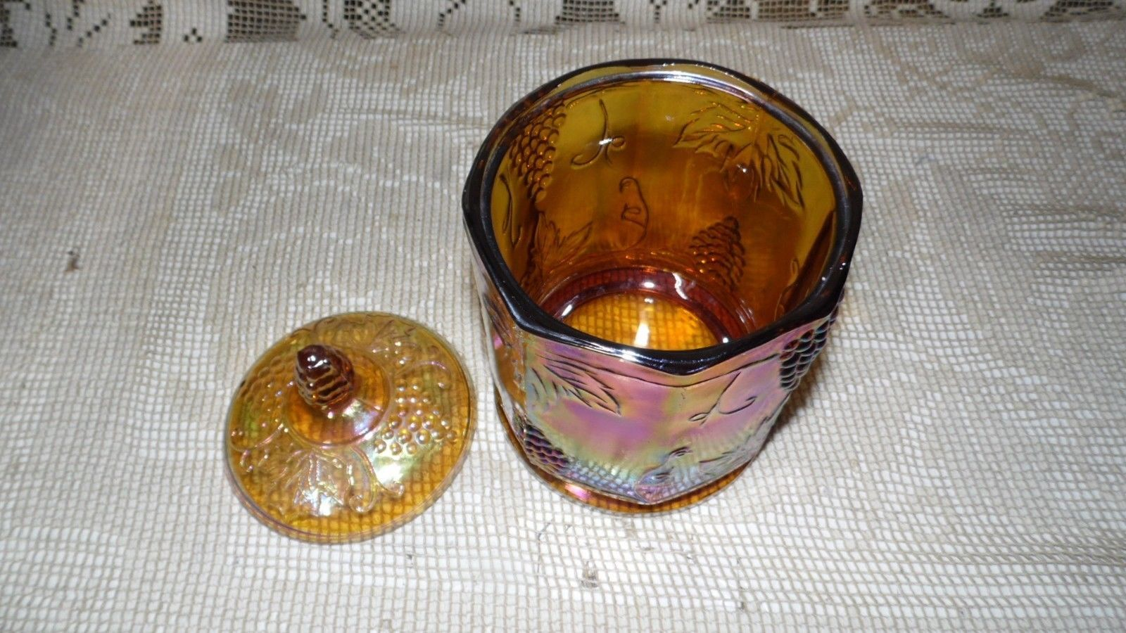 VINTAGE INDIANA GLASS AMBER MULTI CARNIVAL GLASS BISCUIT CANDY JAR WITH LID
