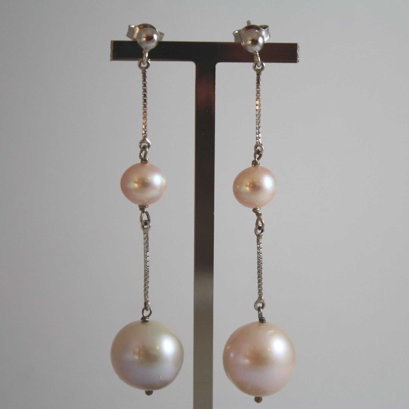 White Gold Earrings 750 18k charms, with white pearls and pink