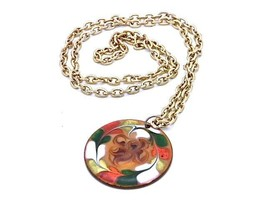 "VINTAGE 1950'S ORANGE GREEN ENAMEL on COPPER SWIRL PENDANT MOD NECKLACE 22"" - $44.99"