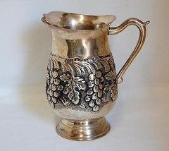 Metal Ice-lip Pitcher with Grapevine Design - $18.70