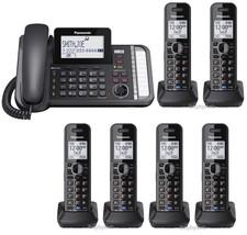 Panasonic KX-TG9581B 2 Line Bluetooth 1 Corded 6 Cordless Phones w/Answe... - $450.40