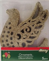 Christmas House Ornaments Gold Dove Glitter 5 count pack - $2.00