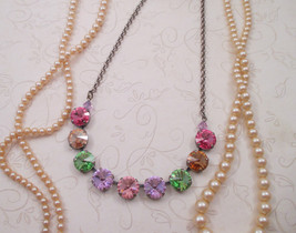 """Swarovski 12mm crystals/""""Italian Ice""""/9-crystal 12mm necklace/Cup chain ... - $39.00"""