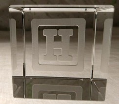 STEUBEN Glass BABY BLOCK LETTER H rare collectible crystal paperweight cube - $247.49
