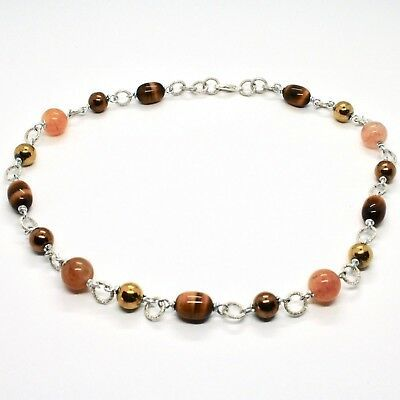 Necklace the Aluminium Long 48 Inch with Tiger's Eye Jade and Hematite