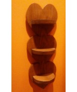 Vint. Solid Wood 3 Heart Wall Hanging What not Shelf Country Log Cabin S... - $29.69