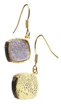 Elise M 18K Gold Plated Pink Druzy Dangle Drop Shepherds Hook Earrings NWT
