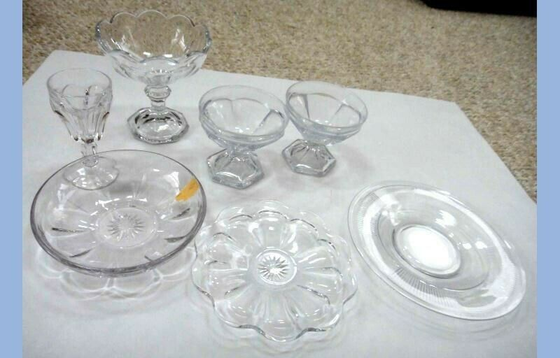 Primary image for LOT vintage 7pc HEISEY GLASS DISHES DESSERT CUPS CANDY SAUCER PLATES BOWL CLEAR