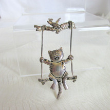 Vintage Adorable Fat Cat on Swing Pin Brooch Silver Plate Bird on Tree B... - $13.50