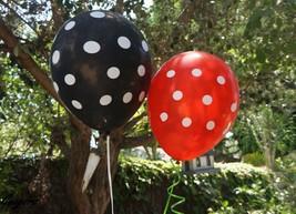 12 Black & Red Polka Dot Latex Balloons Ladybug Minnie Mickey Party Supply Decor - $4.99