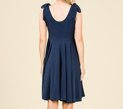 Navy Swing Dress, Navy Circle Skirt Dress, Sleeveless Dress with Empire Waist image 7