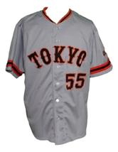 Hideki Matsui #55 Yomiuri Giants Tokyo Button Down Baseball Jersey Grey Any Size image 1