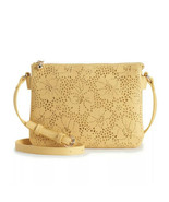 LC Lauren Conrad Candide Crossbody Bag Yellow  Perforated Purse Vegan Le... - $18.62