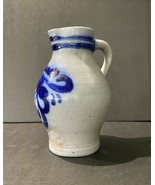 Antique Stoneware Pottery Pitcher Underglaze Blue Scrolling Foliage Shap... - $335.67