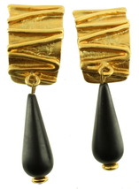 VINTAGE LARGE GOLD TONE ORGANIC NORMA JEAN DANGLE DROP CLIP BACK EARRING... - $125.99
