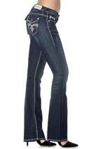 Rock Revival Women's Premium Boot Cut Dark Denim Rhinestone Jeans Noho BE402 image 2