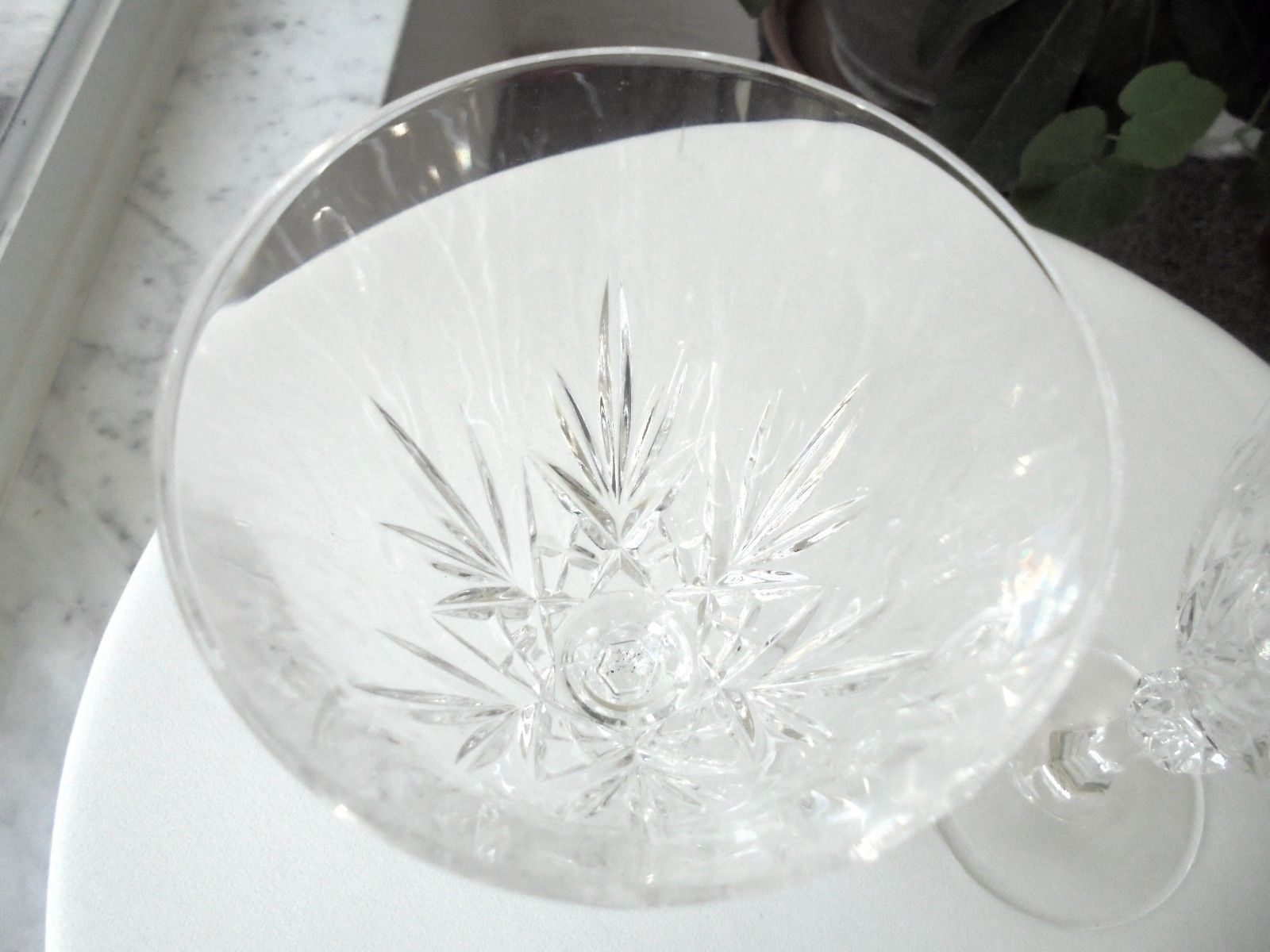"Set of 2 Clear Crystal Water Goblets 7"" Tall"