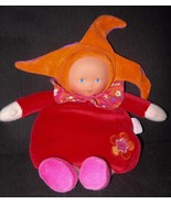 2012 Corolle Baby Doll Plush Body Red Orange Hat Rattle Soft Toy Vinyl Face - $27.70
