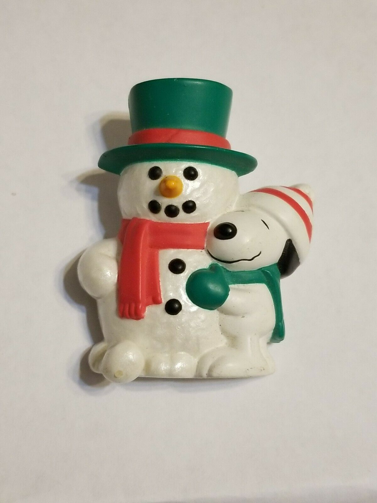 Primary image for 1965 Hallmark Brooch PIN Christmas Vintage SNOOPY & WOODSTOCK Snowman POP UP