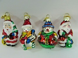 Kurt Adler Ornament Set Santa Claus Snowman Glass Small 32441 Christmas ... - $29.69