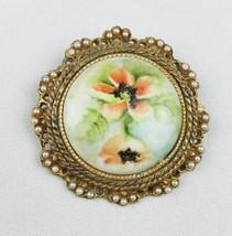 Vintage G. Harve hand painted porcelain brooch floral ceramic beaded - $28.71