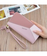 Geometric Women Wallets with Zipper Pink Phone Pocket Purse Card Holder ... - $12.24